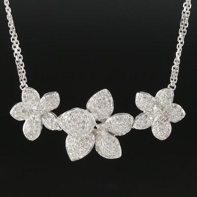18K White Gold 1.24 CTW Pavé Diamond Floral Necklace