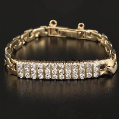 14K Yellow Gold 2.52 CTW Diamond Curb Chain Bracelet