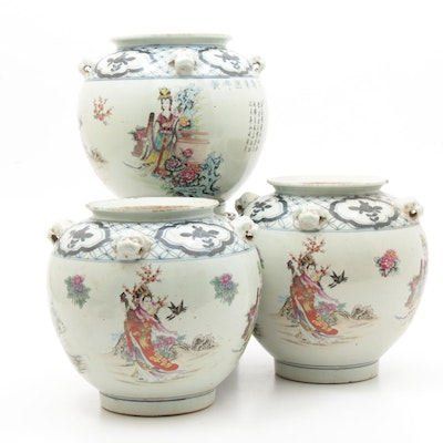 Chinese Porcelain Jars with Guardian Lion Handles, 20th Century
