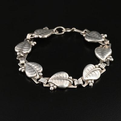 Sterling Silver Leaf Motif Bracelet