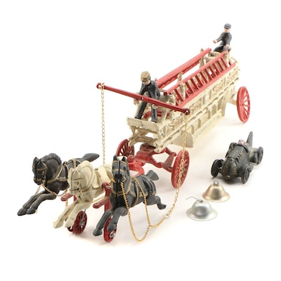 Cast Iron Hook and Ladder Fire Wagon and Race Car Toys