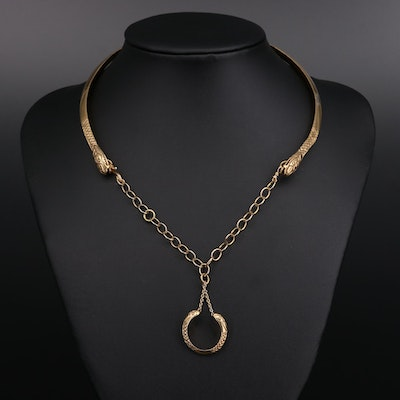 Sterling Silver Double Headed Snake Necklace