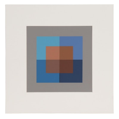 "Josef Albers Geometric Abstract Serigraph from ""Interaction of Color"""