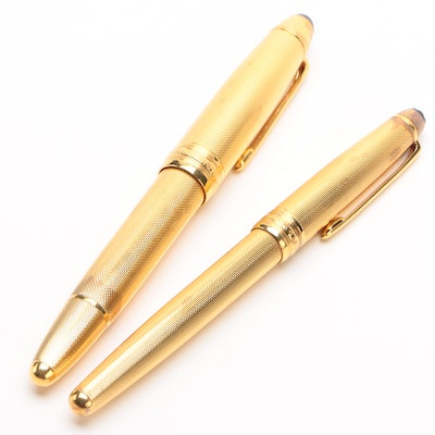 "Montblanc Meisterstück Sterling Vermeil ""Solitaire"" Pens in Barley Finish"