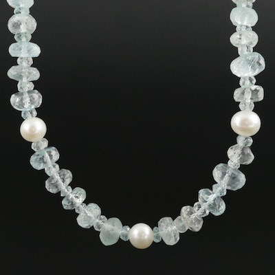 Beaded Aquamarine, Blue Topaz, and Cultured Pearl Necklace With Sterling Clasp