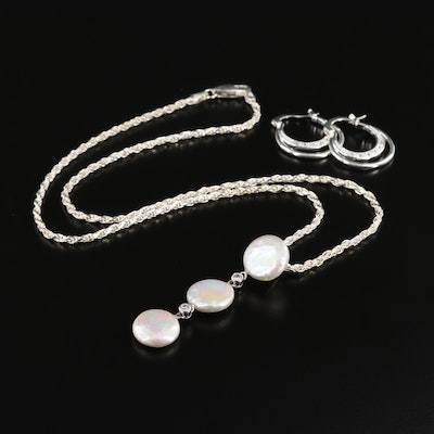 Sterling Cultured Pearl and Cubic Zirconia Pendant Necklace and Hoop Earrings