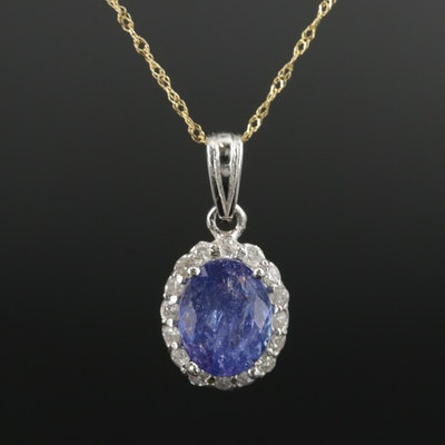 14K Yellow and White Gold 2.14 CT Tanzanite and Diamond Pendant Necklace