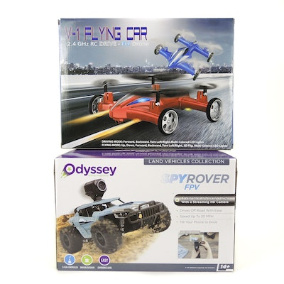Odyssey SpyRover FPV and Leading Edge V-1 Flying Car Drone
