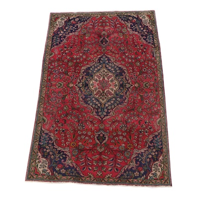 5'0 x 8'2 Hand-Knotted Persian Mashhad Wool Rug