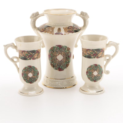 Cre Celtic Knot Motif Vase and Irish Coffee Mugs