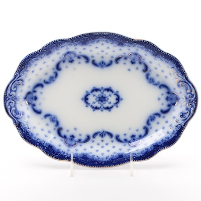 "W. H. Grindley ""Keele"" Flow Blue Oval Platter, Late 19th/ Early 20th Century"