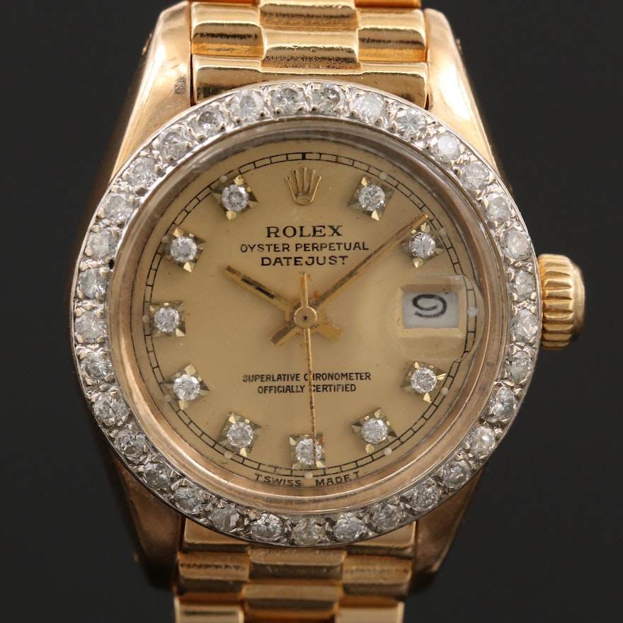 Rolex President Datejust 18K Gold Watch with 1.05 CTW Diamond Dial and Bezel