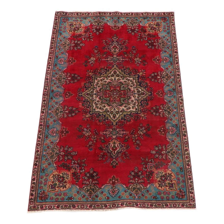 5'2 x 8'5 Hand-Knotted Persian Yazd Wool Rug
