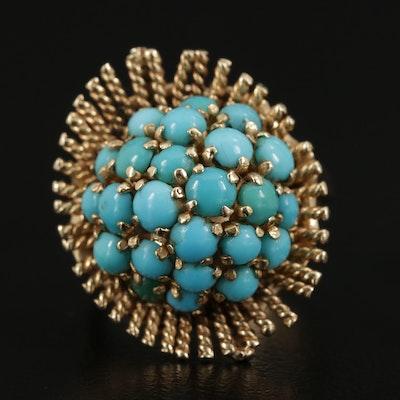Vintage 14K Yellow Gold Turquoise Ring