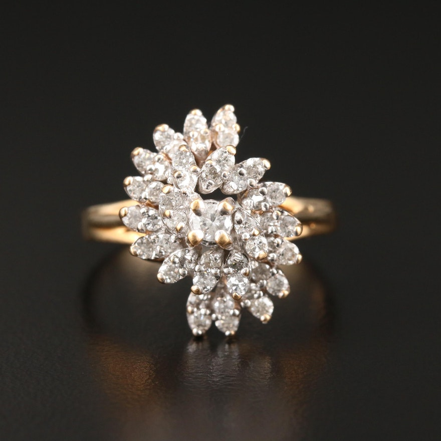 14K Yellow Gold Diamond Cluster Ring