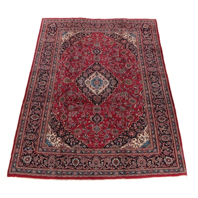 7'10 x 11'3 Hand-Knotted Persian Kashan Wool Rug