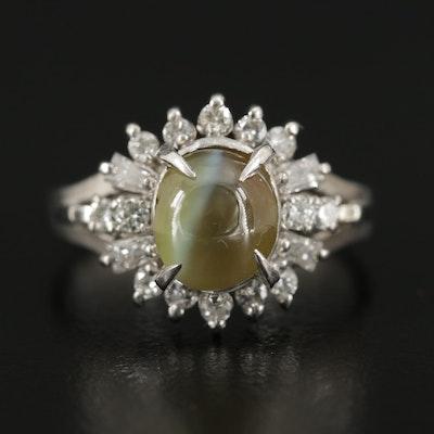 Platinum Cat's Eye Chrysoberyl and Diamond Ring