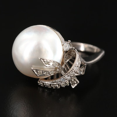1940s Cultured Pearl and Diamond Ring