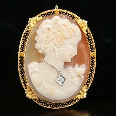 14K Yellow Gold Shell and Diamond Cameo Habillé Converter Brooch