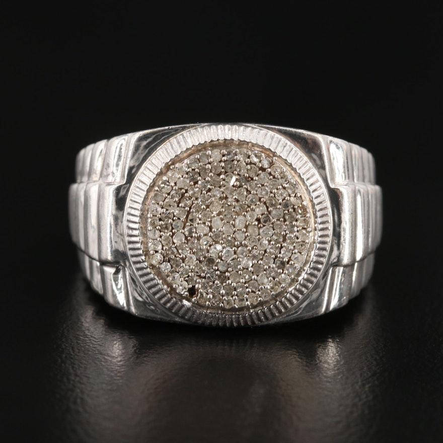 Sterling Silver Diamond Pavé Ring
