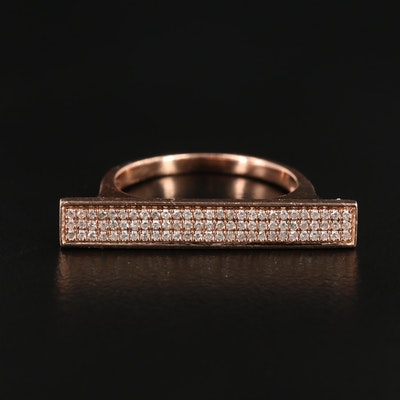 14K Rose Gold Diamond Bar Ring