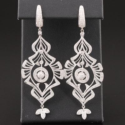 18K White Gold 2.02 CTW Diamond Drop Earrings