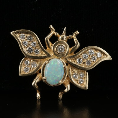 14K Yellow Gold Opal and Diamond Insect Converter Brooch