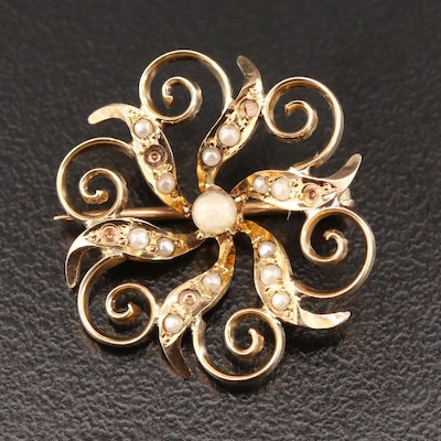 Antique 10K Yellow Gold Brooch With Scroll Work Motif