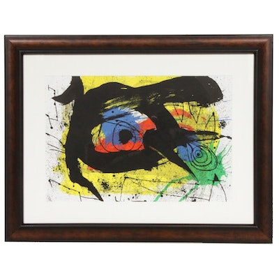 "Joan Miró Double-Page Color Lithograph for ""Derrière le Miroir,"" 1973"