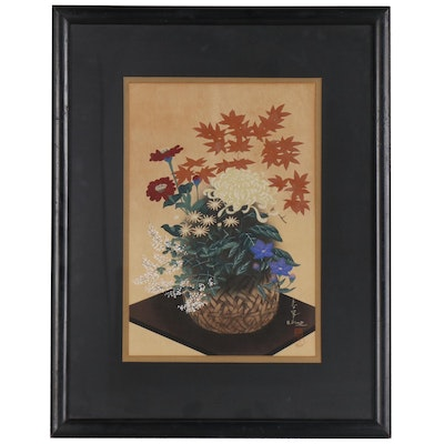 "Bakufu Ohno Woodblock ""Flowers in Bamboo Basket"", Mid 20th Century"