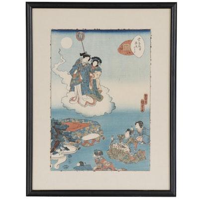 """Utagawa Kunisada II Woodblock """"Maboroshi"""", 1857"""