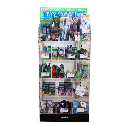 Display Fixture with a Variety of Toys Including Slime, Cars, Yo-yos and Dolls