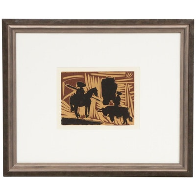 "Linoleum Cut Designed by Pablo Picasso ""Before the Goading of the Bull,"" 1962"
