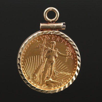14K Yellow Gold Pendant with 1990 Gold Eagle Bullion Coin
