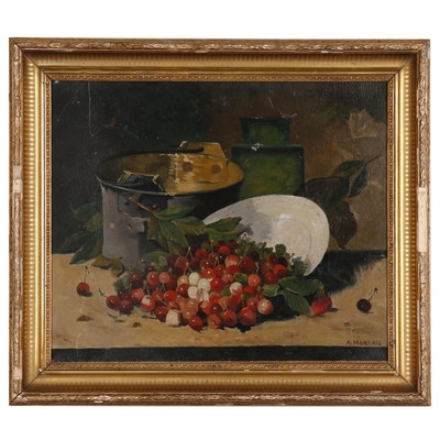 A. Moreau Still Life Oil Painting with Cherries
