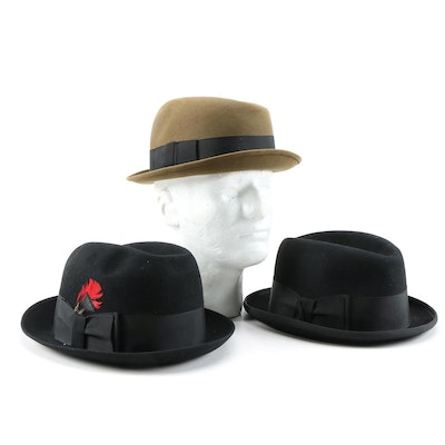 Thomas Begg Zenith, Sutton and Coronation Felted Wool Trilby and Homburg Hats
