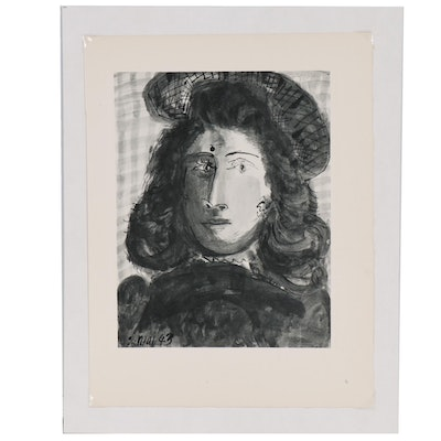 """Collotype after Pablo Picasso """"Woman with Hat"""""""