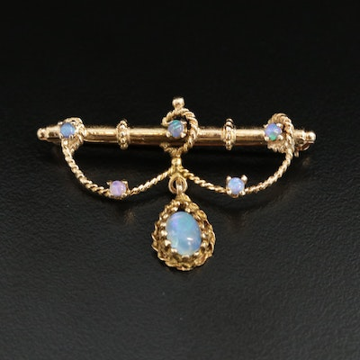 14K Yellow Gold Opal Brooch
