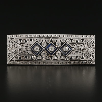Art Deco 18K Gold and Platinum Diamond Brooch