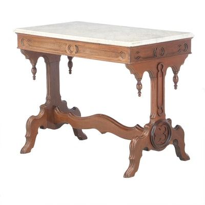 Gothic Revival Walnut and White Marble Console Table, Third Quarter 19th Century