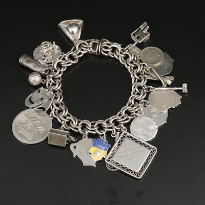 Vintage Sterling Silver Enamel Charm Bracelet Featuring Sports Theme