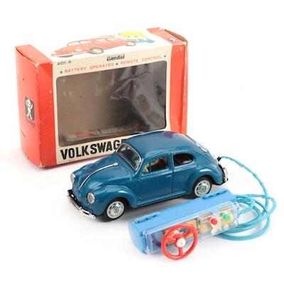 Bandai Volkswagen Sedan Battery Operated Toy Car in Original Packaging, 1960s