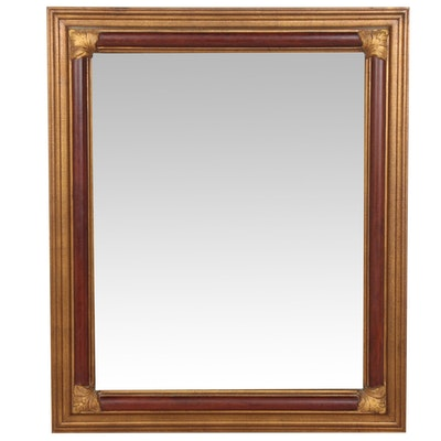 Gold Tone Wood Framed Wall Mirror