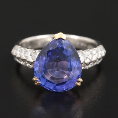 Platinum 6.12 CT Tanzanite and 1.02 CTW Diamond Ring with 18K Accents