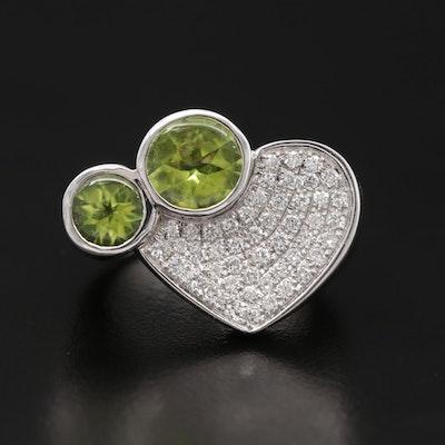 18K White Gold Peridot and Pavé Diamond Heart Ring