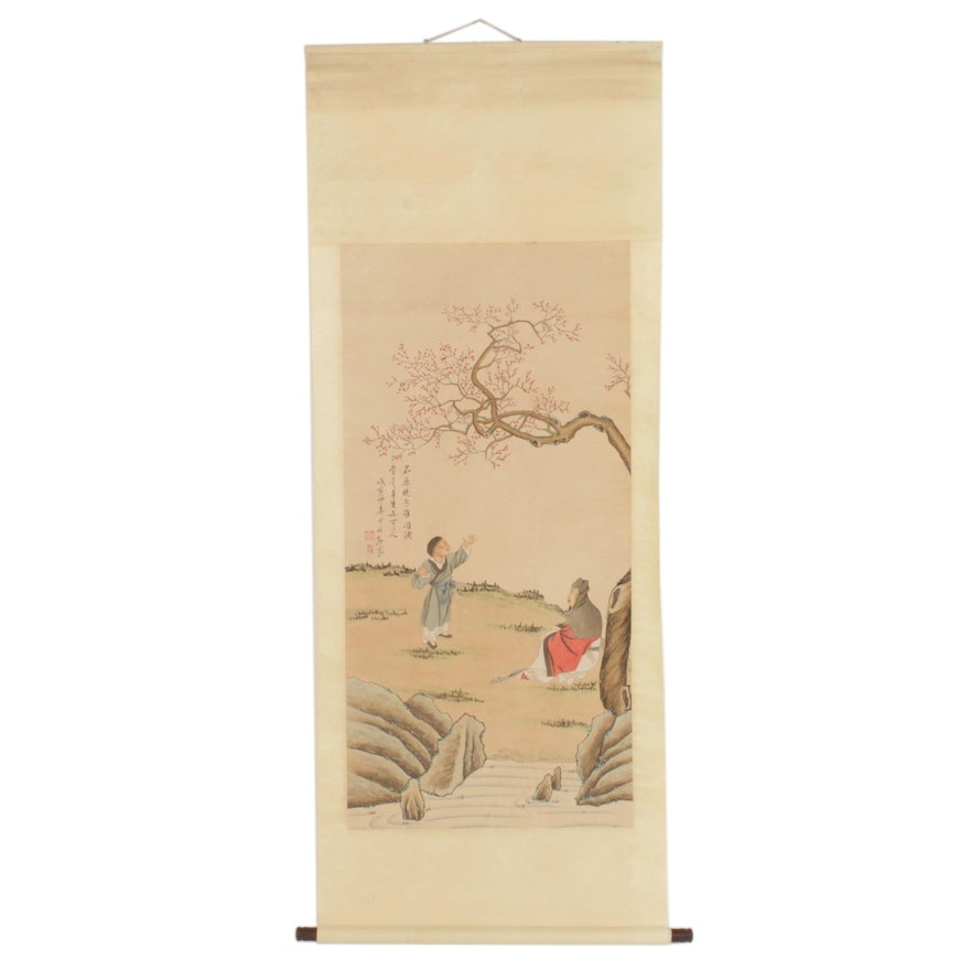 Chinese Gouache and Watercolor Painting on Hanging Scroll