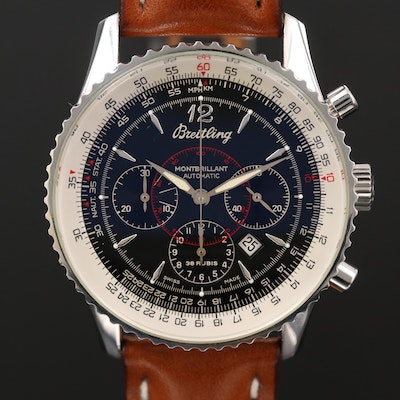 Breitling Montbrilliant Stainless Steel Automatic Chronograph Wristwatch