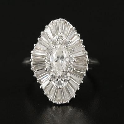 Platinum and Palladium Alloy 2.47 CTW Diamond Ballerina Ring