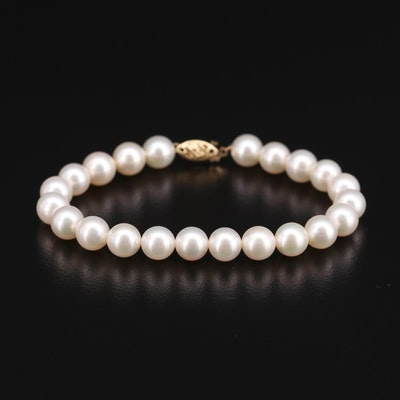 Pearl Strand Bracelet with 14K Yellow Gold Clasp