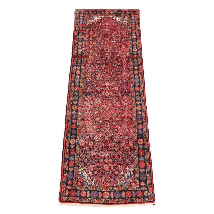 3'5 x 10'11 Hand-Knotted Persian Hamadan Wool Long Rug